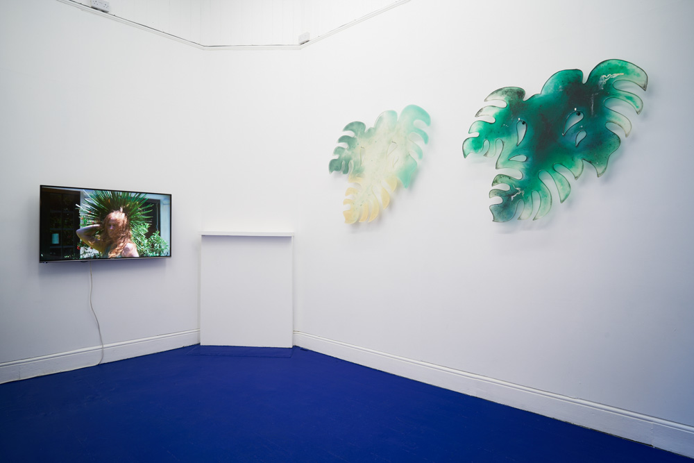 Tropical Hangover, Installation view with works by Laure Prouvost and Zuzanna Czebatul. Tenderpixel. Photo by Original&theCopy.