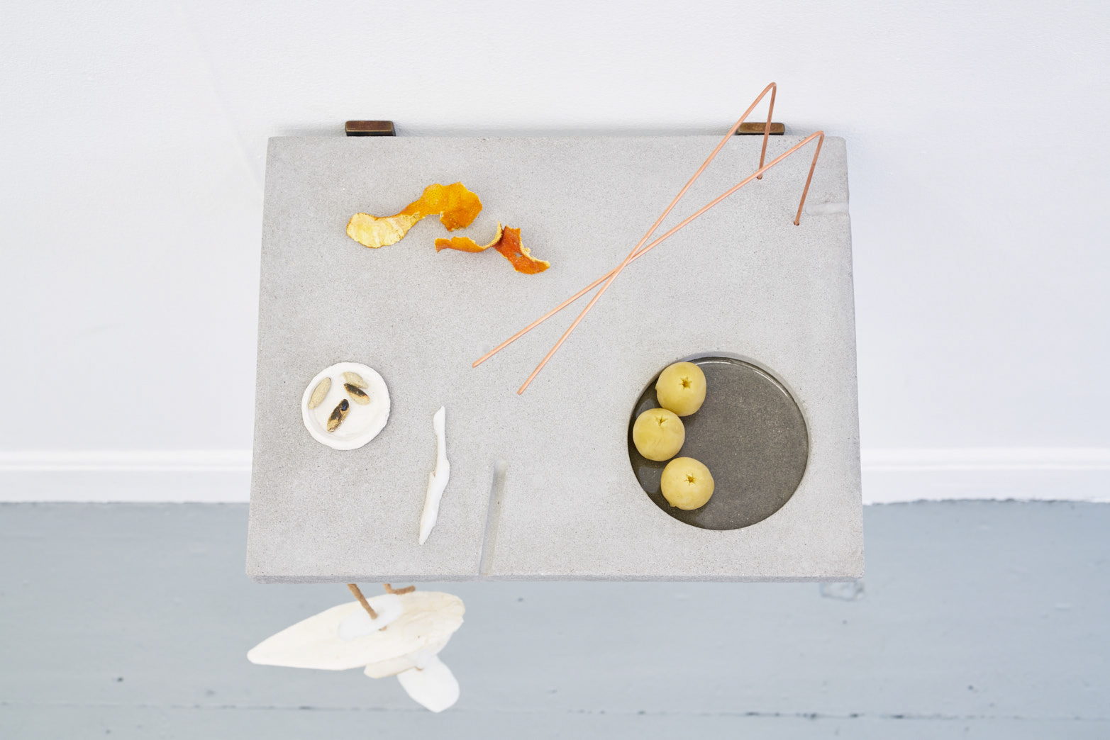 Victoria Adam, Personal Unique pH (potpourri), 2018, Plaster polymer, copper rods, leather, cuttle sh, soap, orange peel, airdry clay, glazed ceramic, beeswax, resin, photo: Original&theCopy