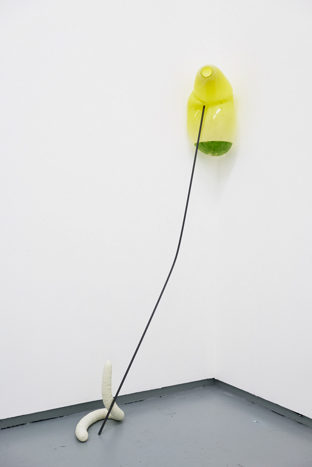 Julia Crabtree and William Evans, Swell, 2018, Glass, uranium glass, pond life, rebar, jesmonite, sausage casing, pigment, photo: Original&theCopy